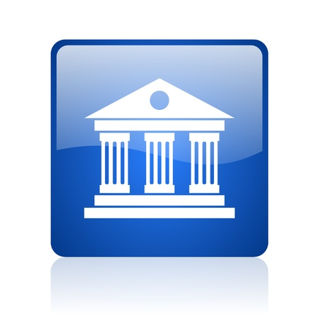 museum blue square glossy web icon on white background  photo