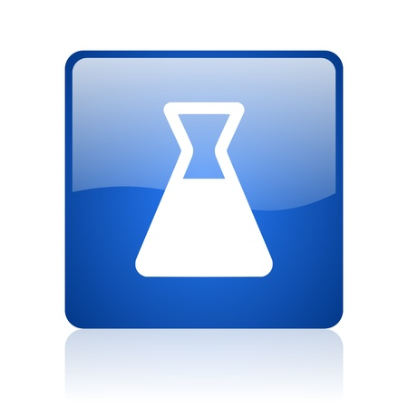 chemistry blue square glossy web icon on white background  photo