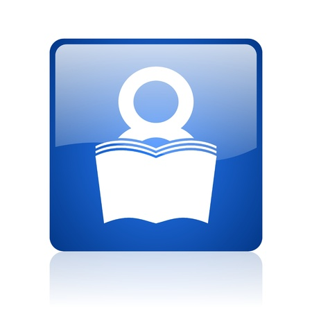 book blue square glossy web icon on white background  photo