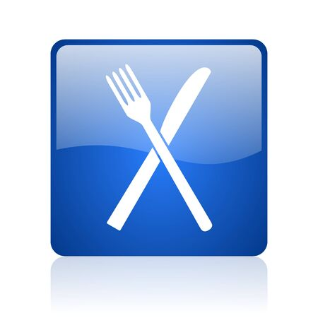 food blue square glossy web icon on white background  photo