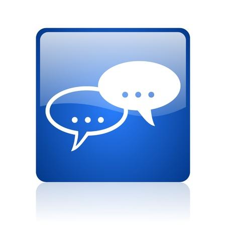 Forum carré bleu web icône brillant sur fond blanc