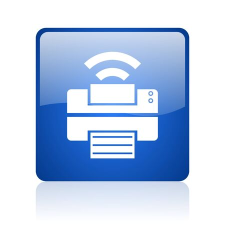 Drucken blaues Quadrat glossy Web-Symbol auf weißem Hintergrund