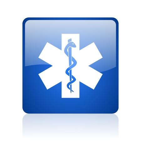 caduceus blaues Quadrat glossy Web-Symbol auf weißem Hintergrund Standard-Bild