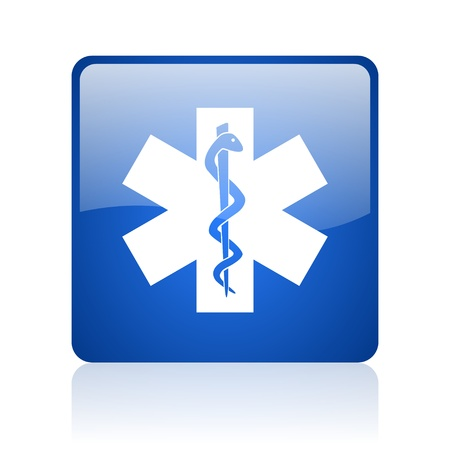 caduceus blue square glossy web icon on white background  photo