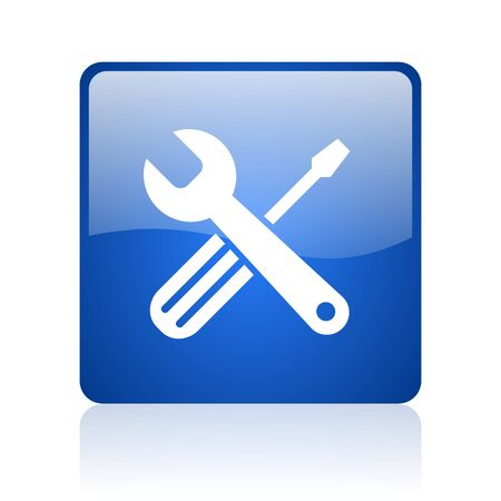 tools blue square glossy web icon on white background
