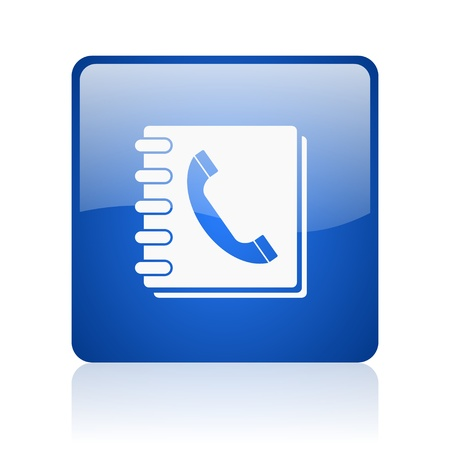 phonebook blue square glossy web icon on white background