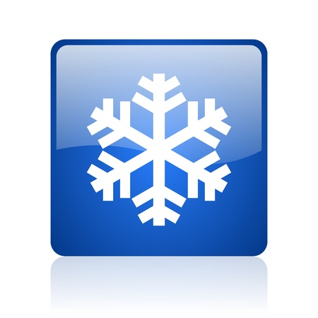 snowflake blue square glossy web icon on white background Stock Photo - 18038283