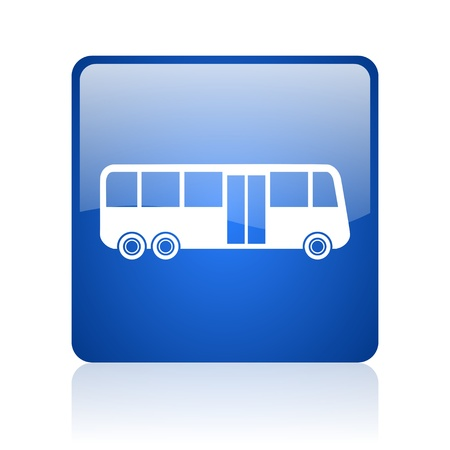 bus blue square glossy web icon on white background  photo
