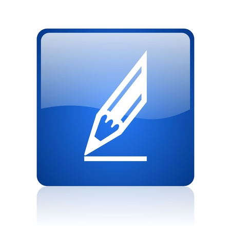 draw blue square glossy web icon on white background  photo
