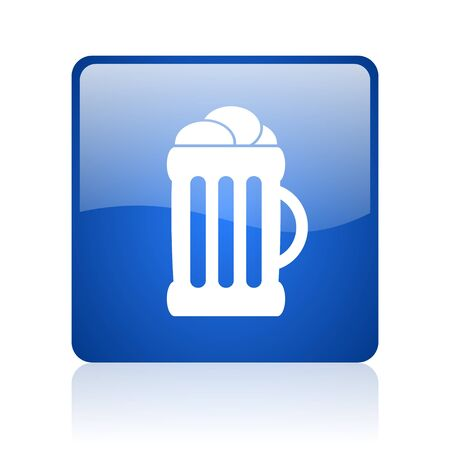 beer blue square glossy web icon on white background  photo