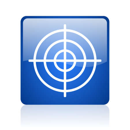 target blue square glossy web icon on white background  photo