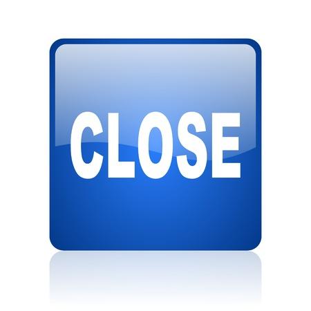 close blue square glossy web icon on white background Stock Photo - 18037847