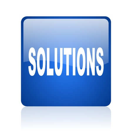 solutions blue square glossy web icon on white background  photo
