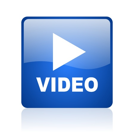 video blue square glossy web icon on white background  photo
