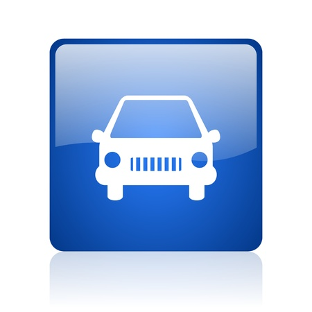 car blue square glossy web icon on white background  photo