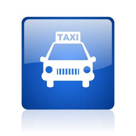 taxi blue square glossy web icon on white background  photo