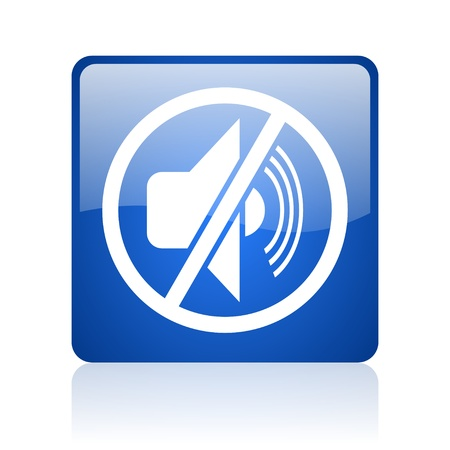 mute blue square glossy web icon on white background  photo