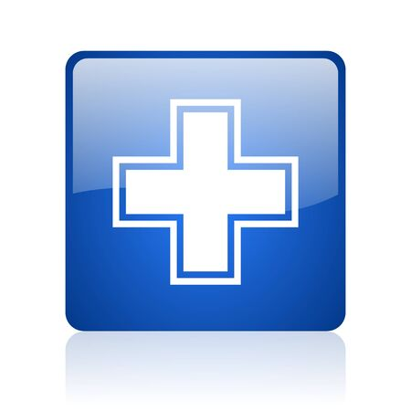 pharmacy blue square glossy web icon on white background  photo