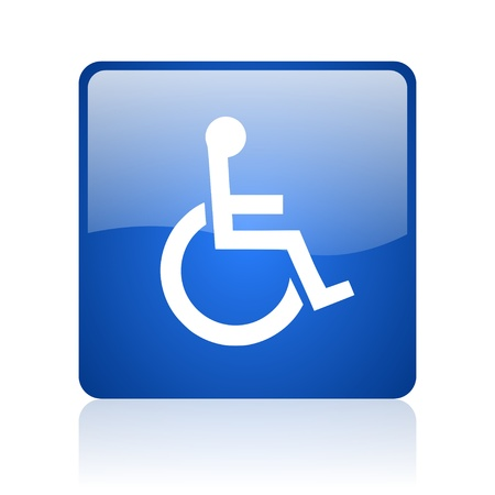 accessibility blue square glossy web icon on white background  photo