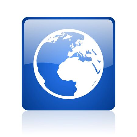 earth blue square glossy web icon on white background  photo