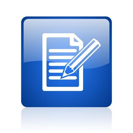 Abonnieren blaues Quadrat glossy Web-Symbol auf weißem Hintergrund