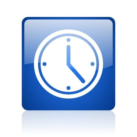clock blue square glossy web icon on white background Stock Photo - 18038025