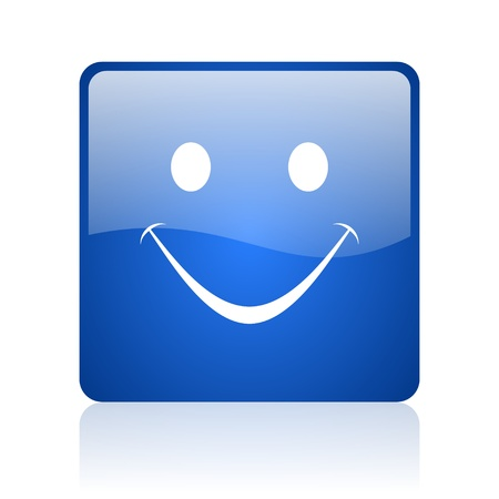 smile blue square glossy web icon on white background Stock Photo - 18037846
