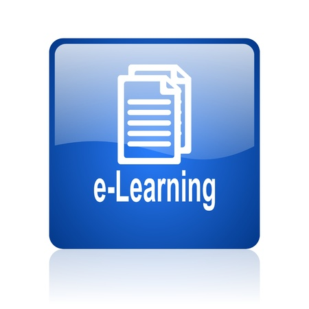 e-learning blue square glossy web icon on white background  photo