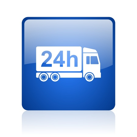 delivery 24h blue square glossy web icon on white background  photo
