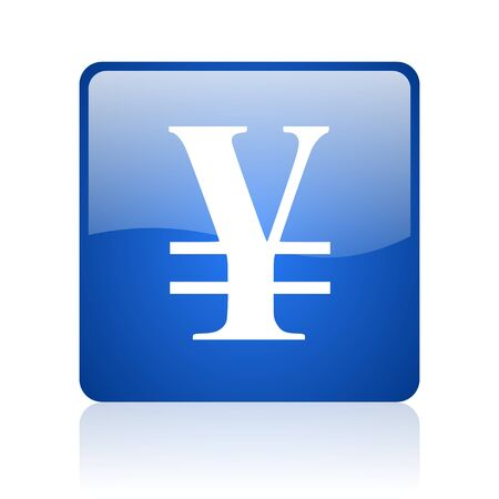 yen blue square glossy web icon on white background  photo