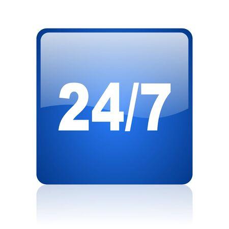 24/7 blue square glossy web icon on white background Stock Photo - 18037719