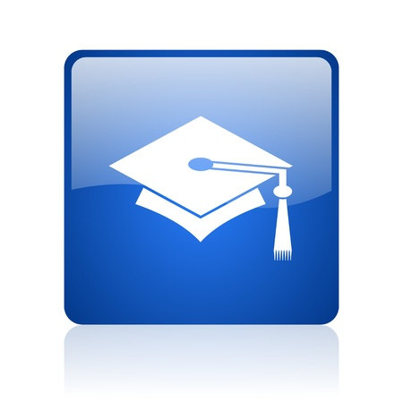graduation blue square glossy web icon on white background  photo