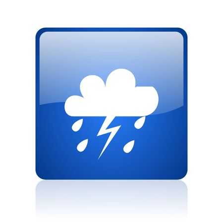 weather forecast blue square glossy web icon on white background  photo
