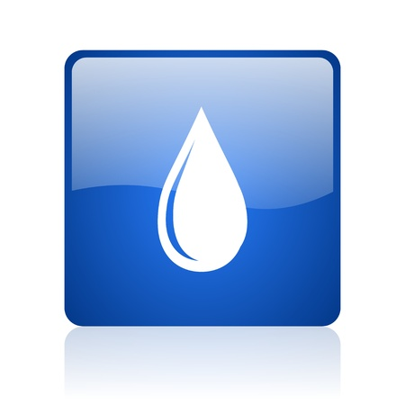 water drop blue square glossy web icon on white background  photo