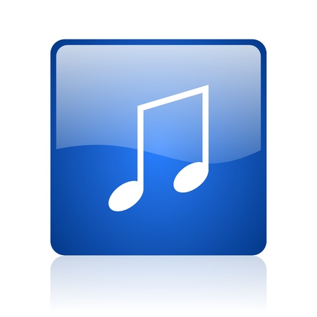 music blue square glossy web icon on white background  photo
