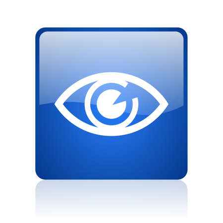 eye blue square glossy web icon on white background  photo