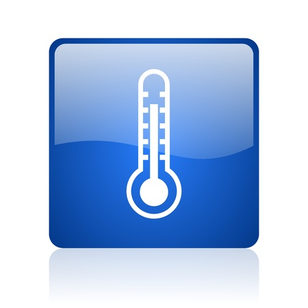 thermometer blue square glossy web icon on white background  photo