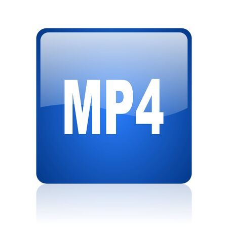 mp4: mp4 blue square glossy web icon on white background  Stock Photo