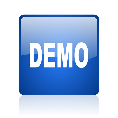 demo blue square glossy web icon on white background  photo