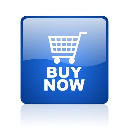 kaufen blaues Quadrat glossy Web-Symbol auf weißem Hintergrund