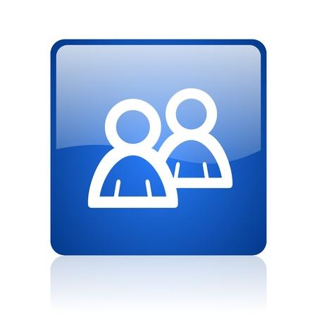 forum blue square glossy web icon on white background  photo