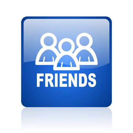 friends blue square glossy web icon on white background  photo