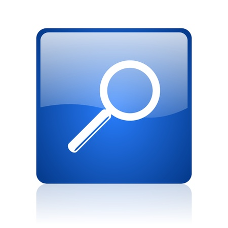 search blue square glossy web icon on white background  photo