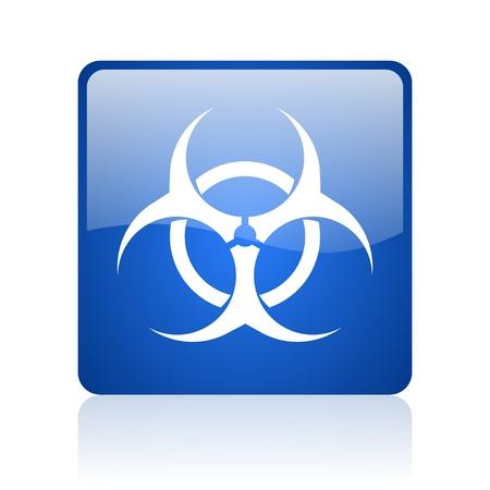 virus blue square glossy web icon on white background Stock Photo - 18038285