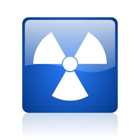 radiation blue square glossy web icon on white background Stock Photo - 18037182