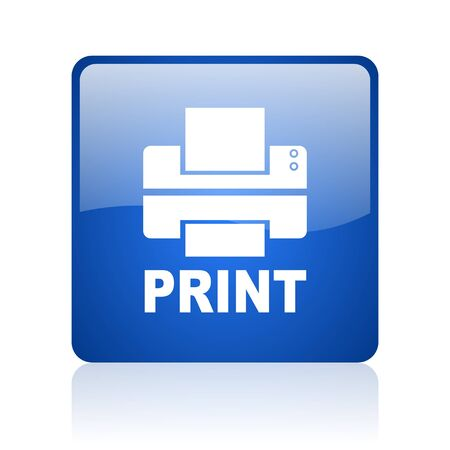 print blue square glossy web icon on white background  photo