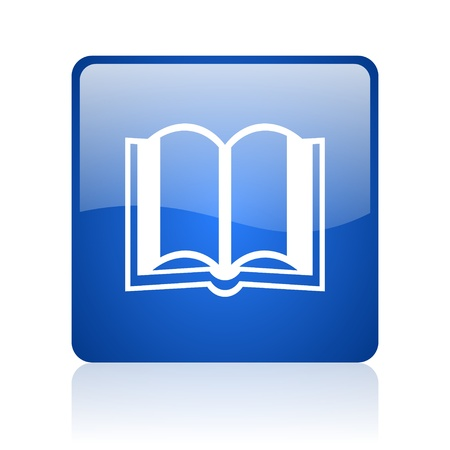 ebook: book blue square glossy web icon on white background  Stock Photo