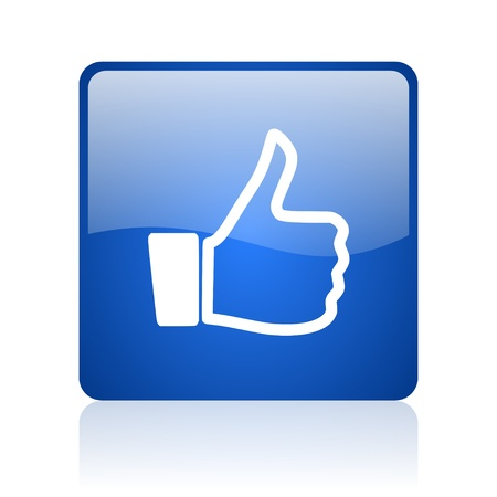 thumb up blue square glossy web icon on white background  photo