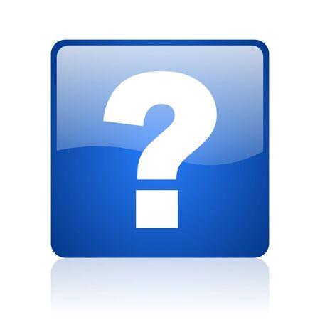 question mark blue square glossy web icon on white background Stock Photo - 18037220