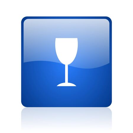 champain: glass blue square glossy web icon on white background